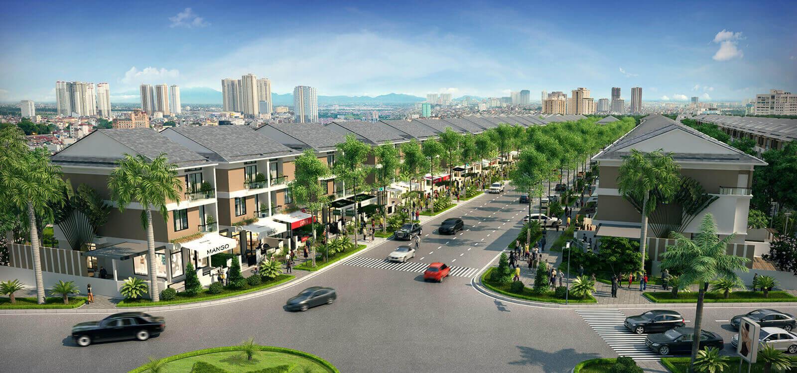 Biệt thự An Phú Shop Villa Dương Nội tọa lạc trên 2 mặt đường lớn vào AEON Mall Hà Đông