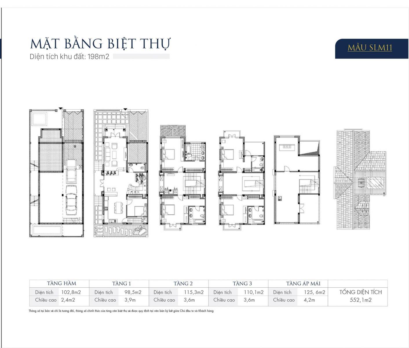 Mặt bằng thiết kế mẫu SLM11 Biệt thự An Khang Villas Dương Nội