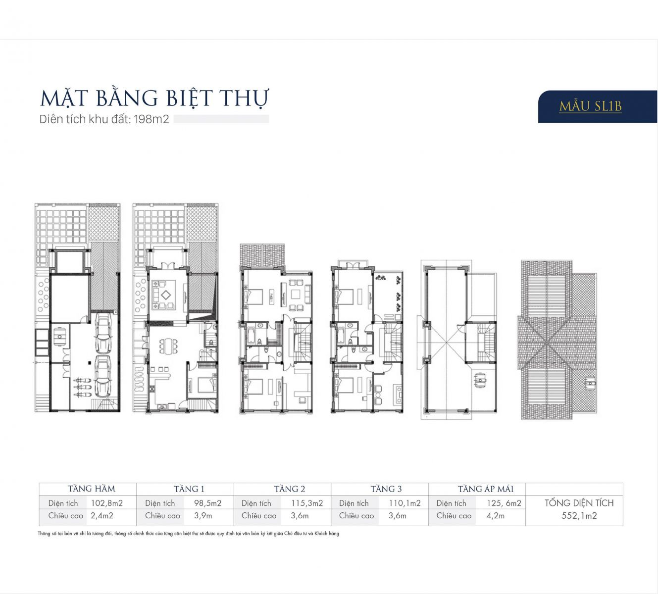 Mặt bằng thiết kế mẫu SL1B Biệt thự An Khang Villas Nam Cường Dương Nội