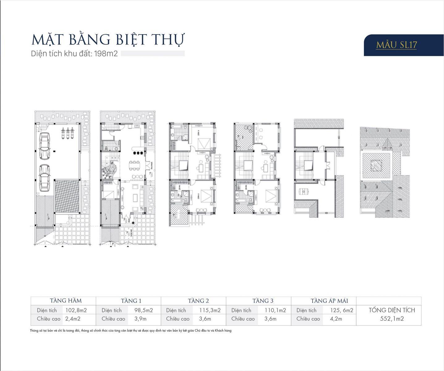 Mặt bằng thiết kế mẫu SL17 Biệt thự An Khang Villas Dương Nội
